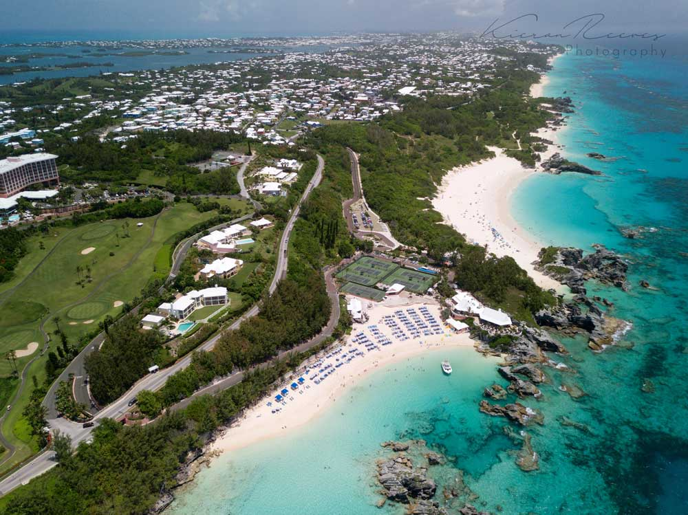 Birds eye view of our dive center in Whale Bay. Horseshoe Bay located on the right.