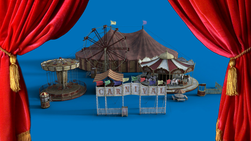 A big Circus tent on a blue background