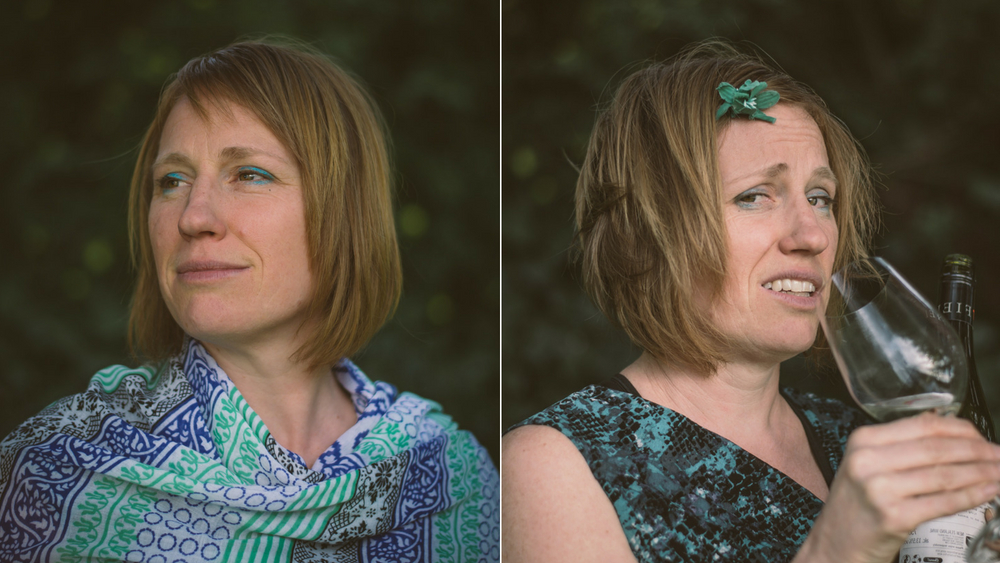Two images of the same woman, one where she is calm and well dressed, the other where she is dishevelled and drinking from a wine glass
