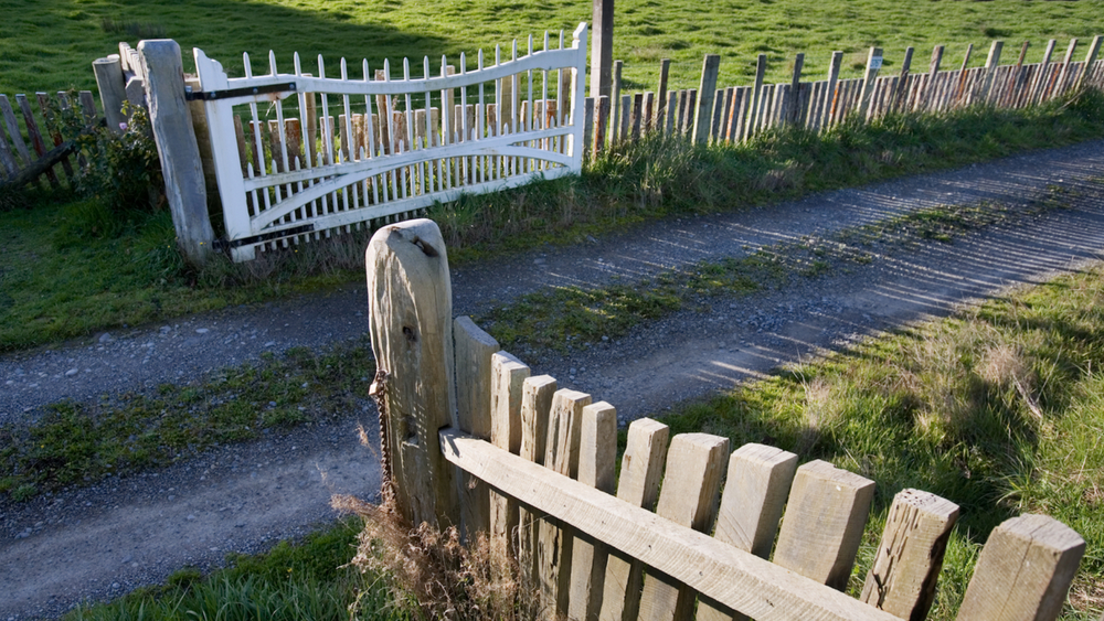 An open farm gate