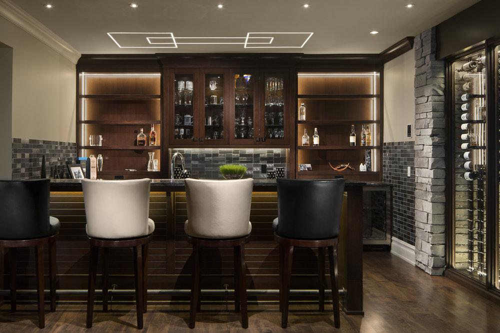 Basement bar in a custom built home