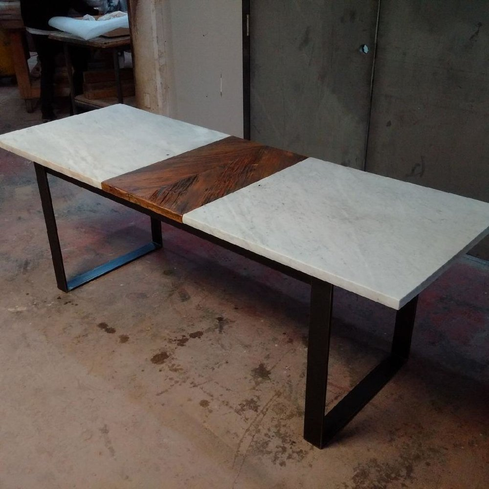 Salvaged Marble Top with Hemlock Extension and Square Steel Base