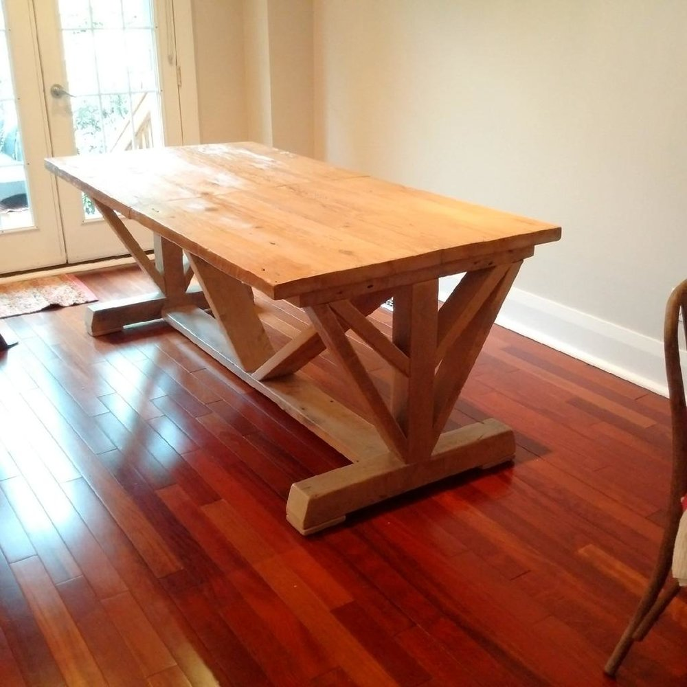 Reclaimed Hemlock Top with Extension and Custom Base