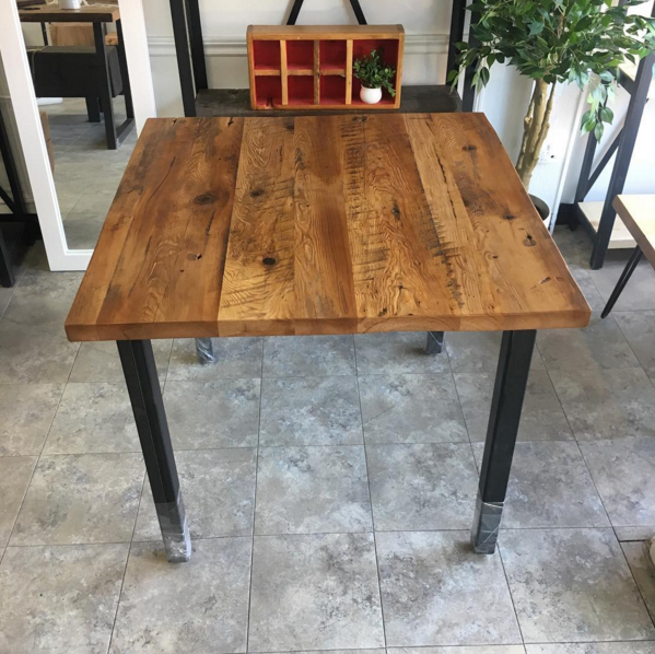 Reclaimed Hemlock Top with Steel Post Base