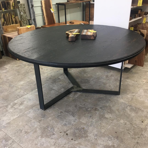 Reclaimed Hemlock Round Top with Steel Custom Base