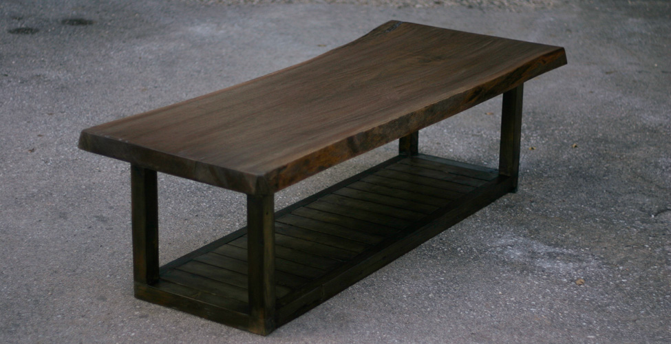 Live Edge Stained Top with Slatted Wood Base