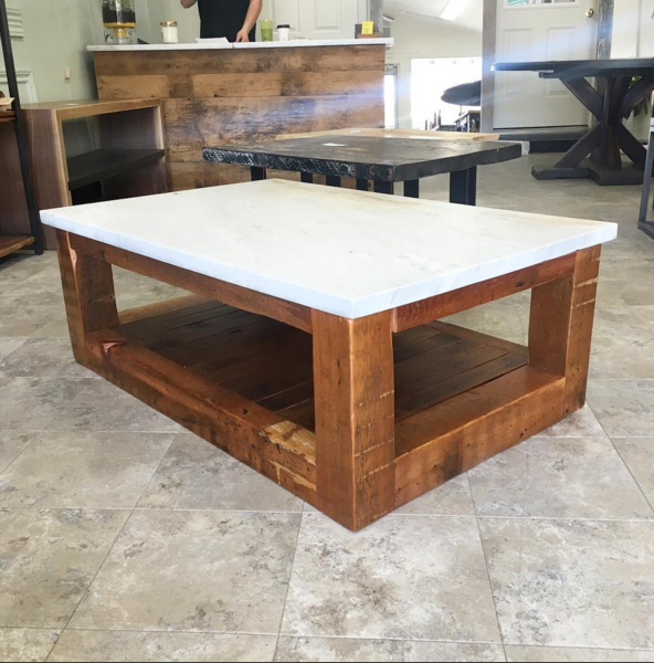 Salvaged Marble Top with Slatted Reclaimed Hemlock Base