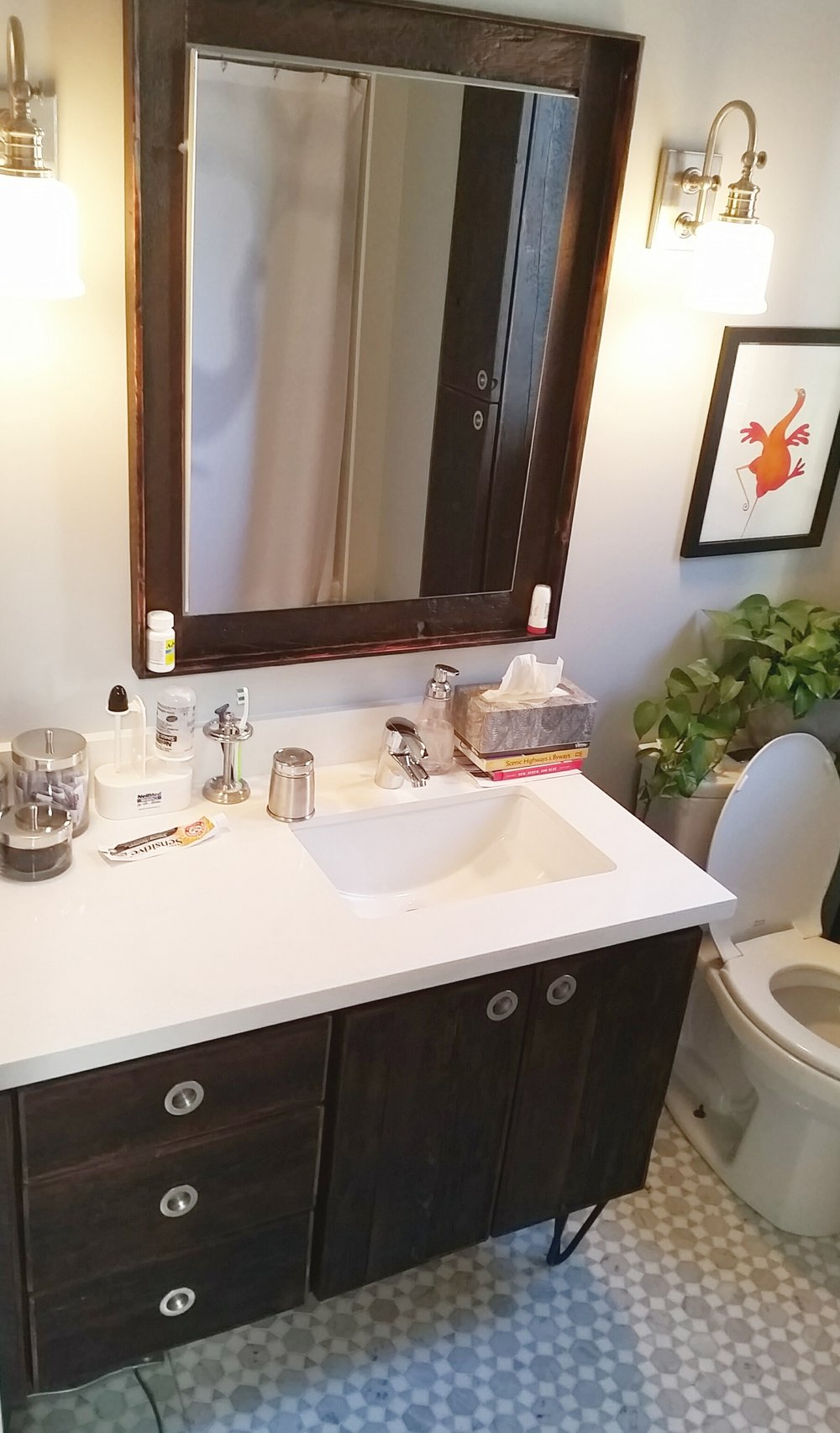 Custom Vanity with Matching Mirror