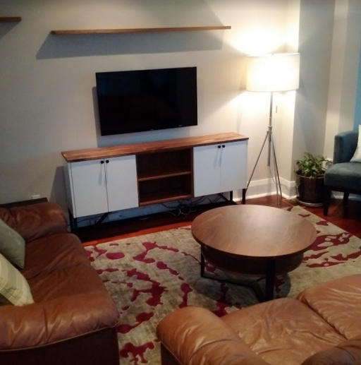 Custom Living Room with Media Unit and Walnut Coffee Table