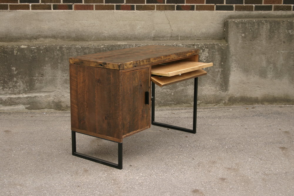 Reclaimed Lumber Desk with Side Cabinet and Keyboard Drawer