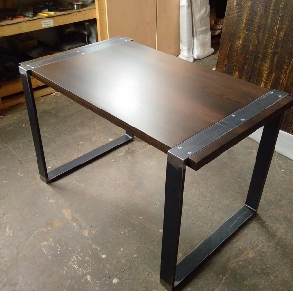 Custom Desk with Walnut Top and Wraparound Steel Base