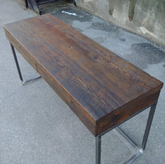 Stained Reclaimed Lumber Desk with Drawers and Steel Square Base