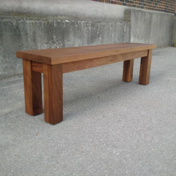 Walnut Straight Edge Top with Matching Post Base