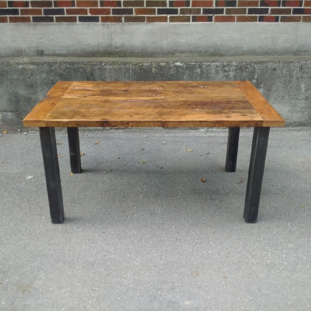 Reclaimed Hemlock Top with 4 Post Steel Base