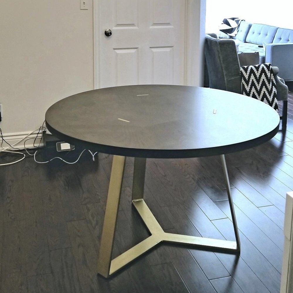 Round Dining Table with Custom Steel Base