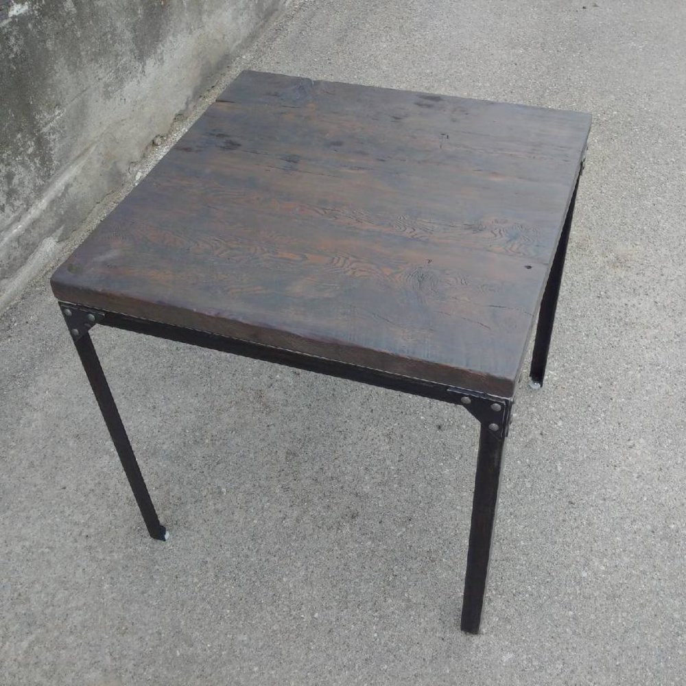 Copy of Reclaimed Side Table with Steel Base