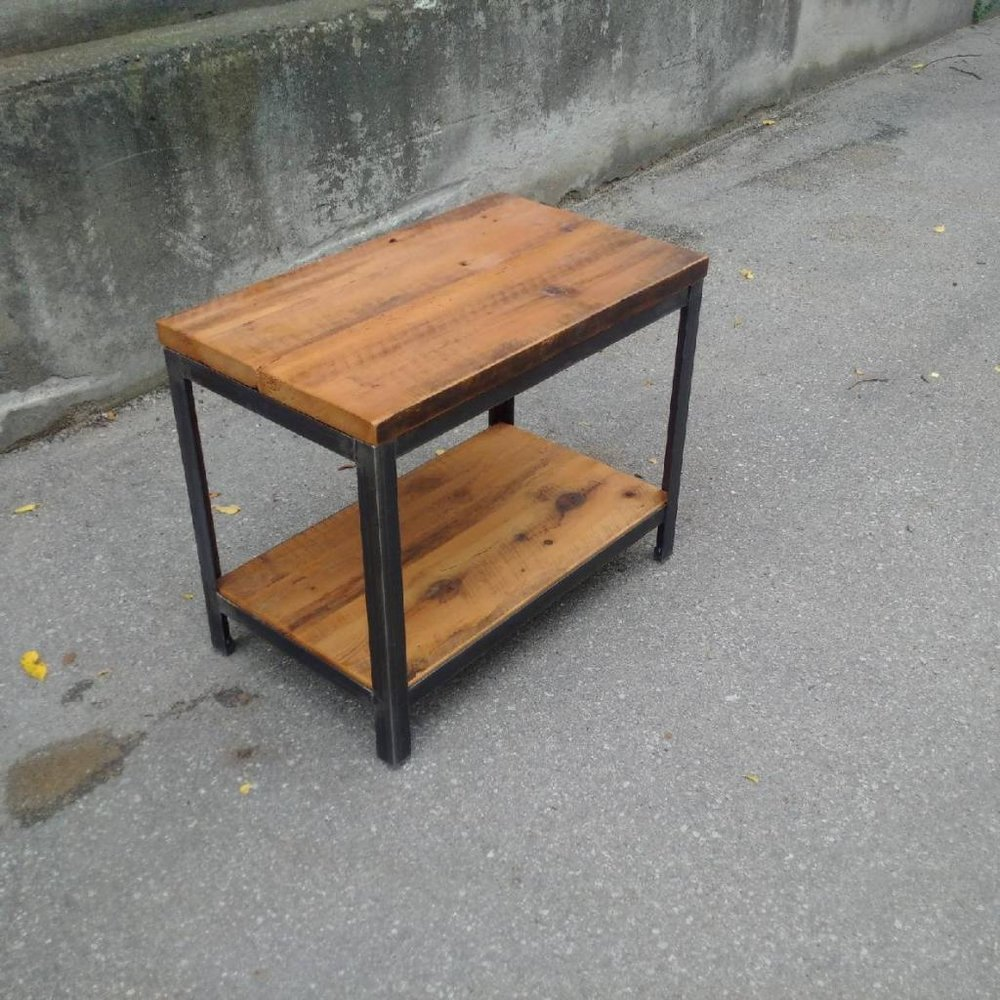 Reclaimed Wood Side Table with Shelf