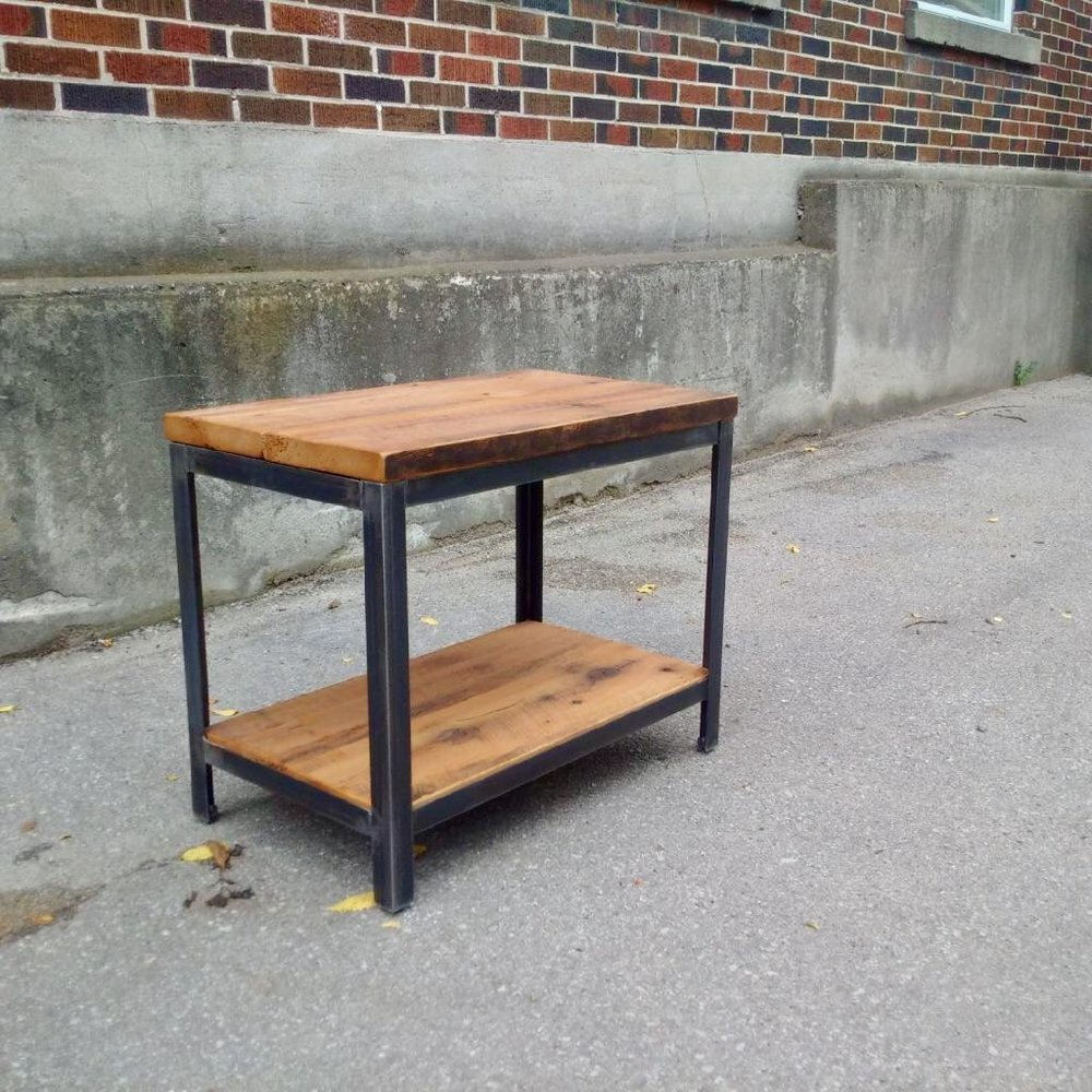 Reclaimed Side Table with Shelf and Steel Base