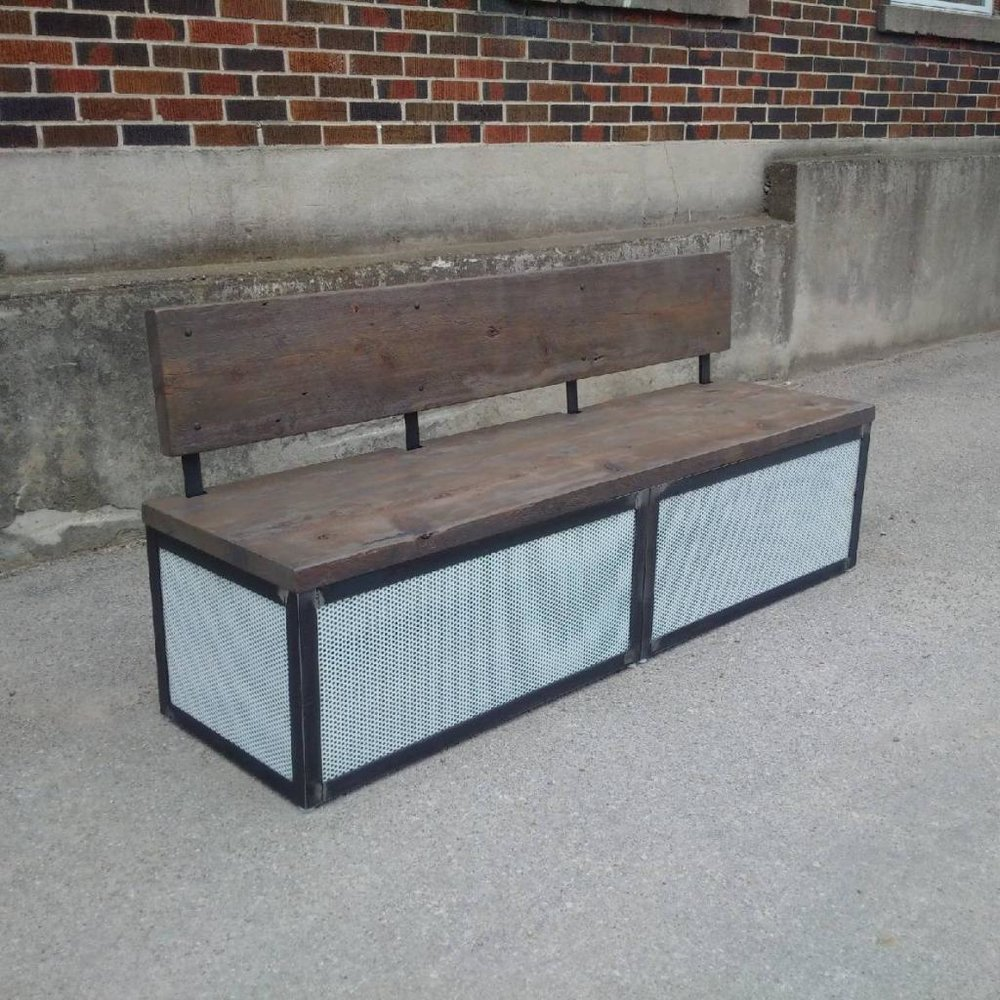 Custom Bench with Perforated White Steel