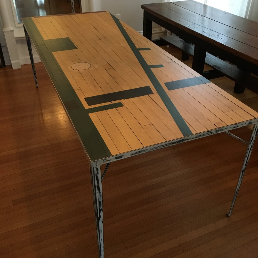 Custom reclaimed basketball court table