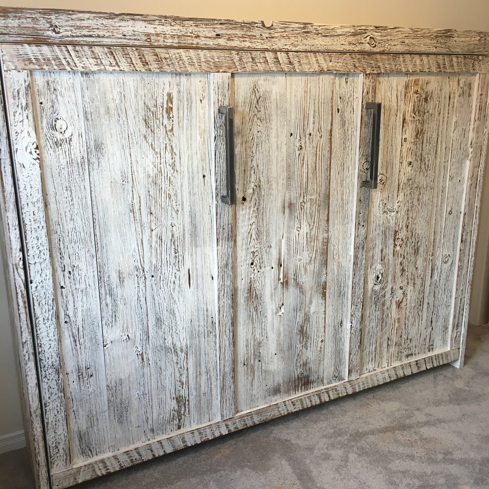 Murphy bed with reclaimed wood