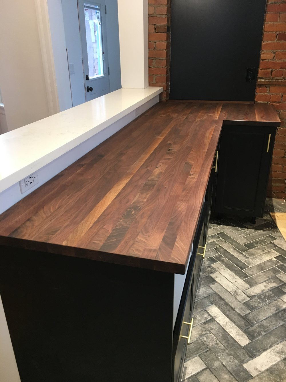 Walnut butcher block counter