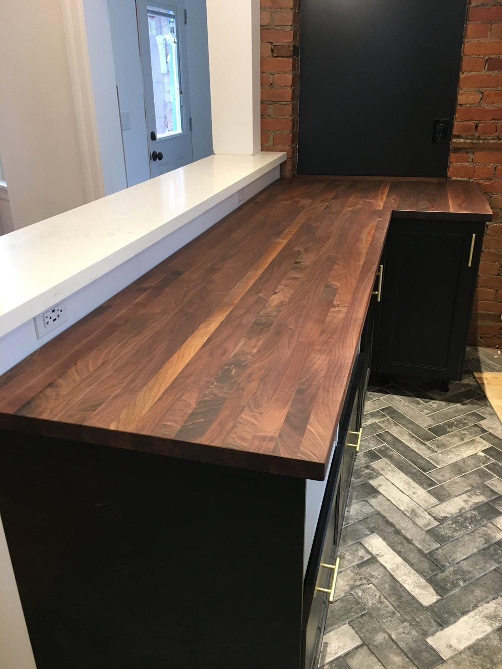 Walnut butcher block counter