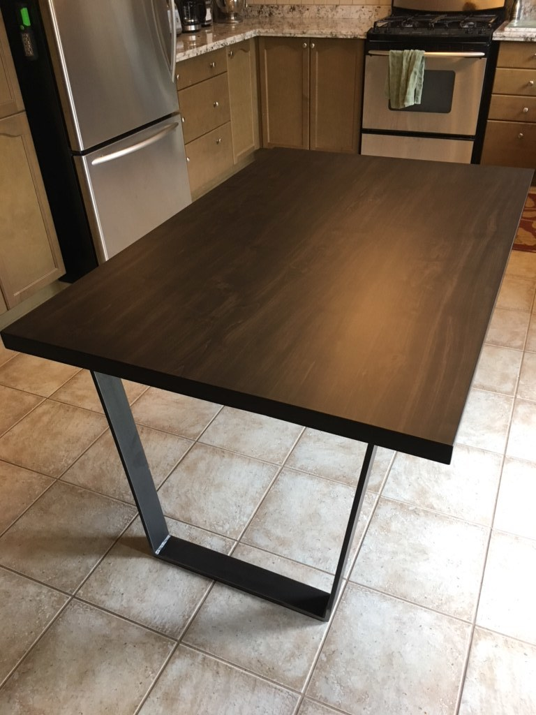 Stained Straight Edge Top with Square Counter Height Base