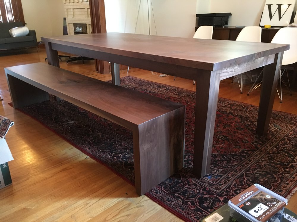 Walnut Dining Table with Walnut Bench