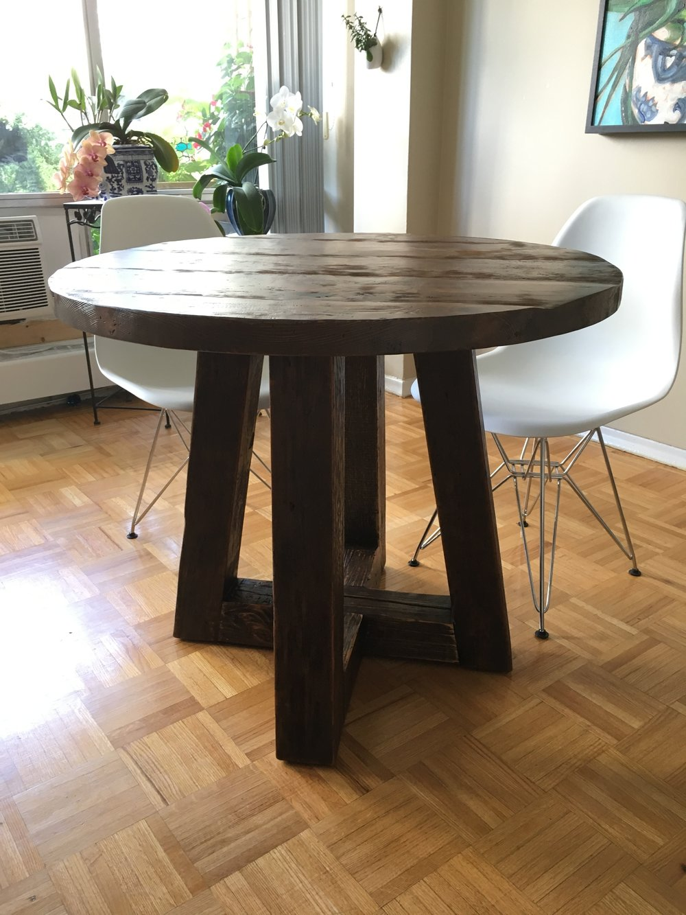 Reclaimed Wood Top with Custom Wood Base