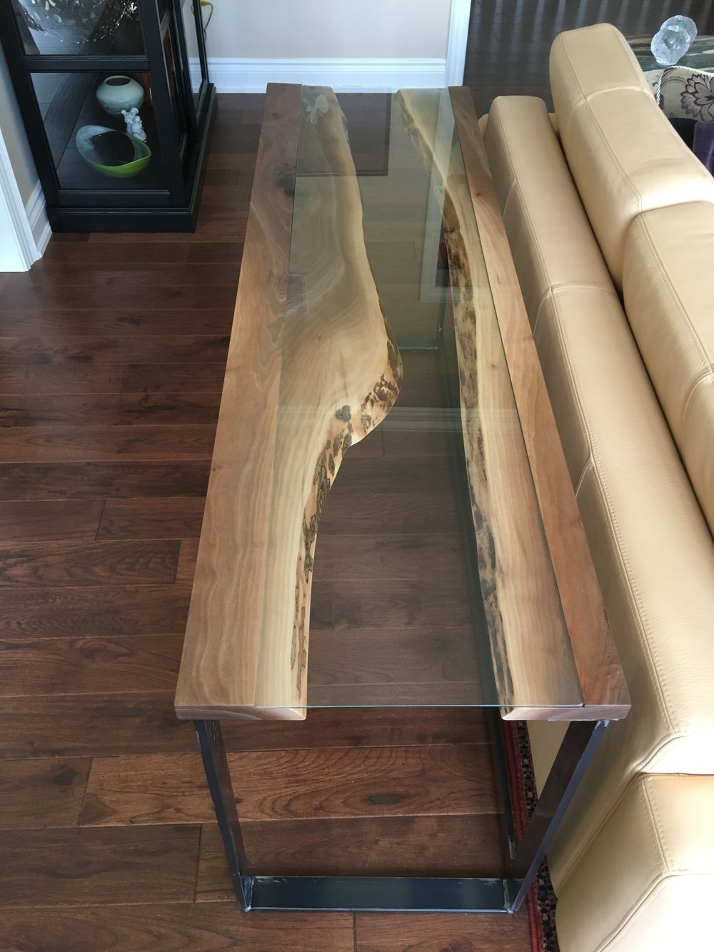 Walnut River Table with Custom Glass