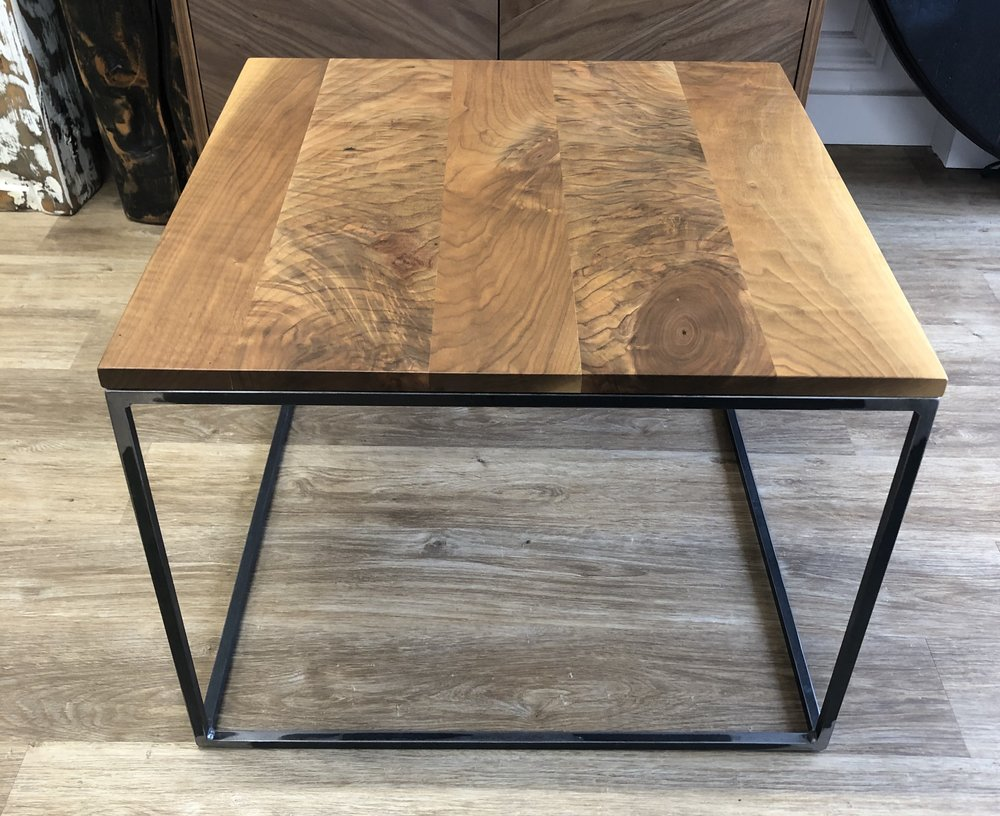 Walnut Square Coffee Table   This coffee or side table is made from contrasting walnut planks for a unique look. It measures 24'' x 24'' x 18''  $405