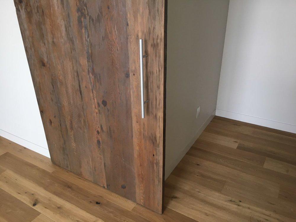 Reclaimed Wood Sliding Door with Chrome Hardware