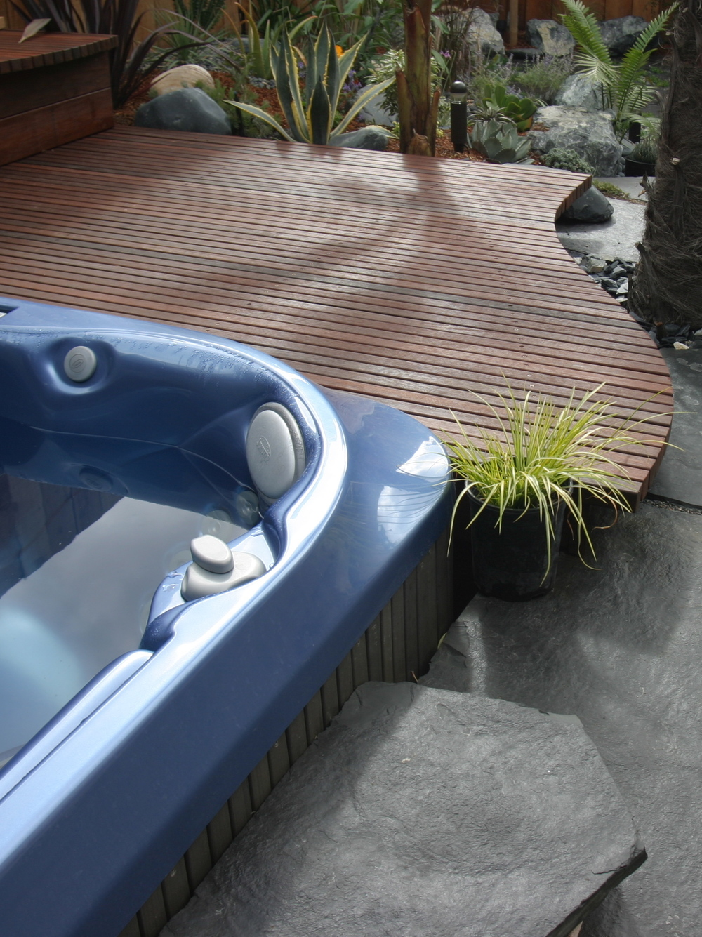 We Typically Design Our Hot Tub Features Somewhat Sunken In The Ground For  A Lower Profile. We Typically Design And Build A Small Wood Platform Next  To The ...