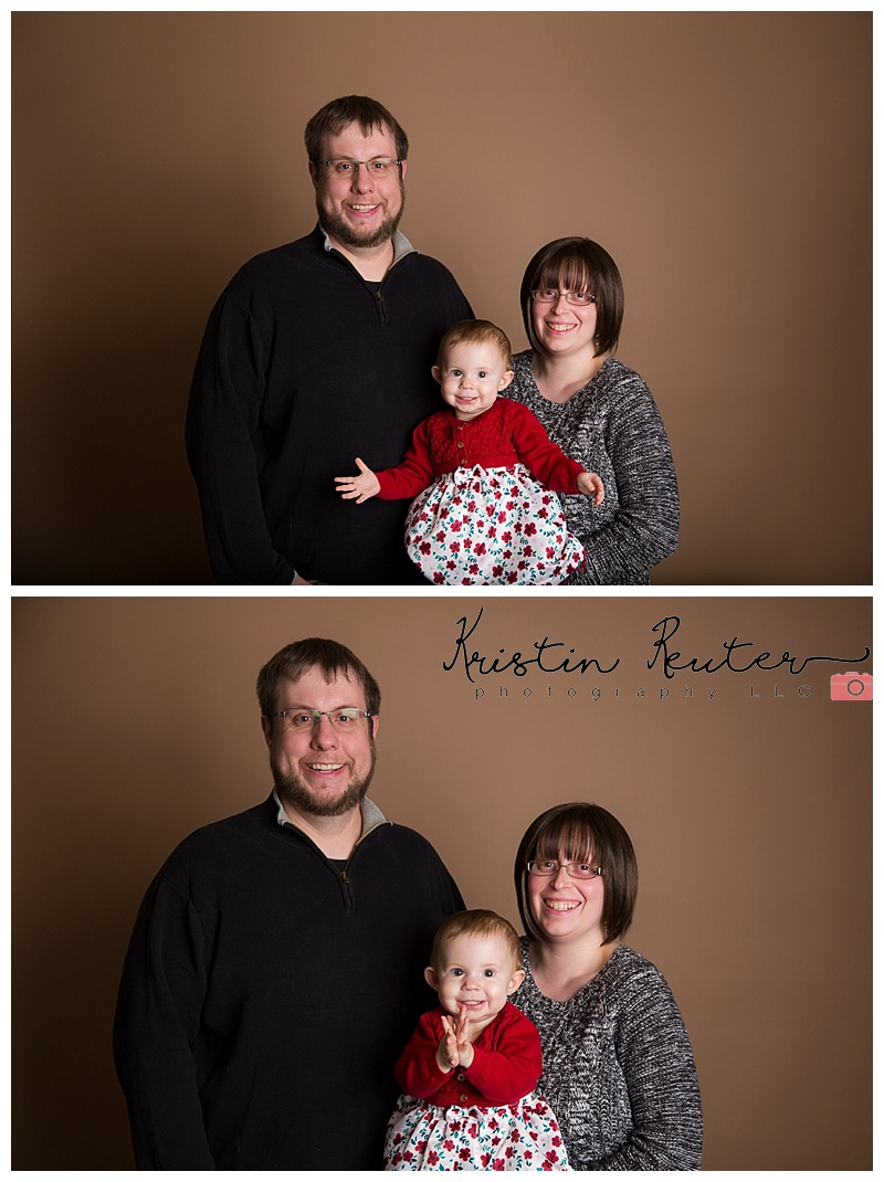 Mom and dad came for some family portraits as well!  I seriously adore this little family and enjoy our time spent together in the studio!   Speaking of studio I am super excited to have my new backdrop stand hung high enough that I don't need to photoshop backdrop over dad's head! haha He's tall!