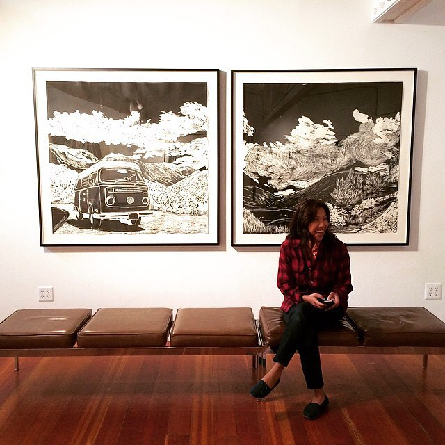 Congrats to @ssataman! Her woodcut, McClure's Pass Diptych just sold. Headed to a new residence in west Marin. Not far from where Sirima created the piece. #woodcut #art