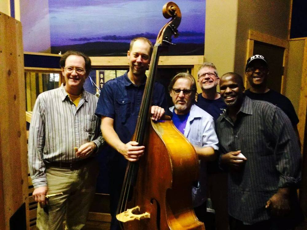 Marks band members for his new CD 'Suite Mother' — with Rich Oppenheim, Mike Porter, Joe Caploe, Will Kennedy, and Ron Wilkins.