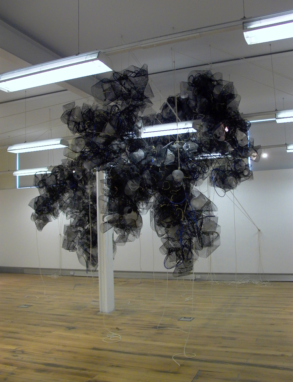 Lure I,  2009. Monash, Melbourne.  Plastic trellis, fibreglass, polypropylene, rope, light. Dimensions variable.