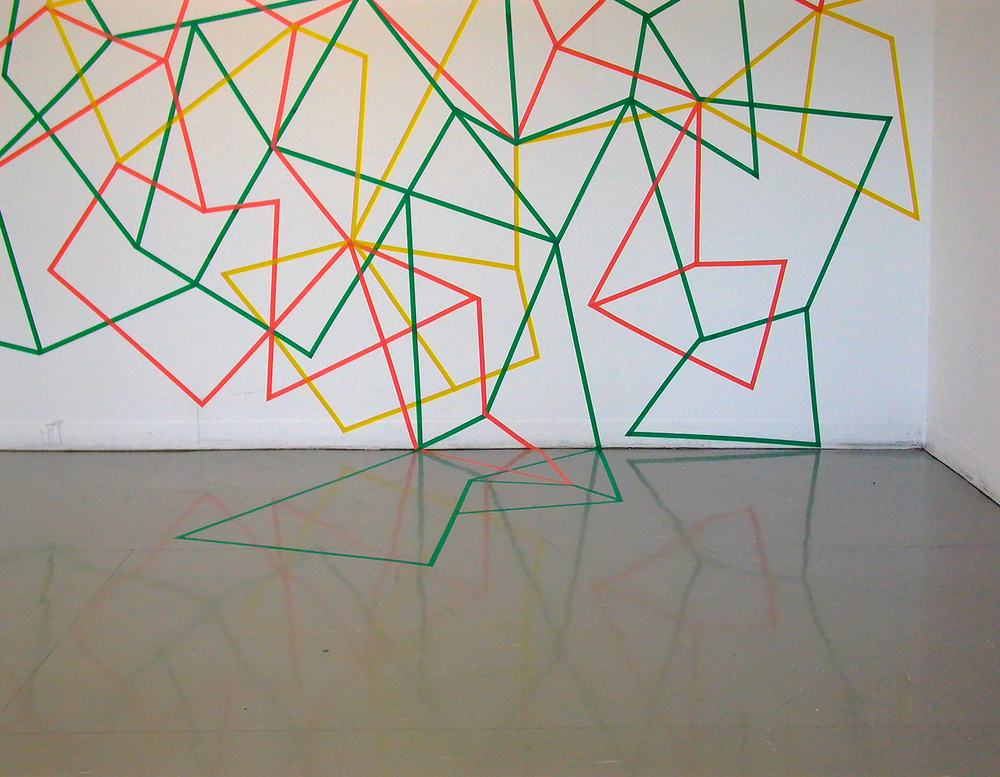 Undoing,  2009.  Electrical tape. 6m x 2.5m.