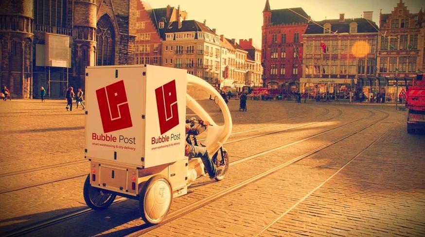 Nu de pakjesdienst in Gent rendabel is, breidt BubblePost uit naar Antwerpen, Brussel, Kortrijk en Sint-Niklaas. © RV DOC