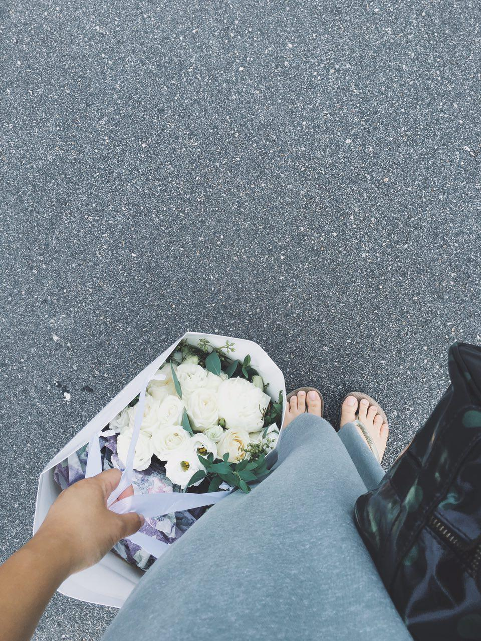 My pre-pre-wedding shoot #ootd with flip flops on and the flower bouquet still nicely packed in the paper bag.