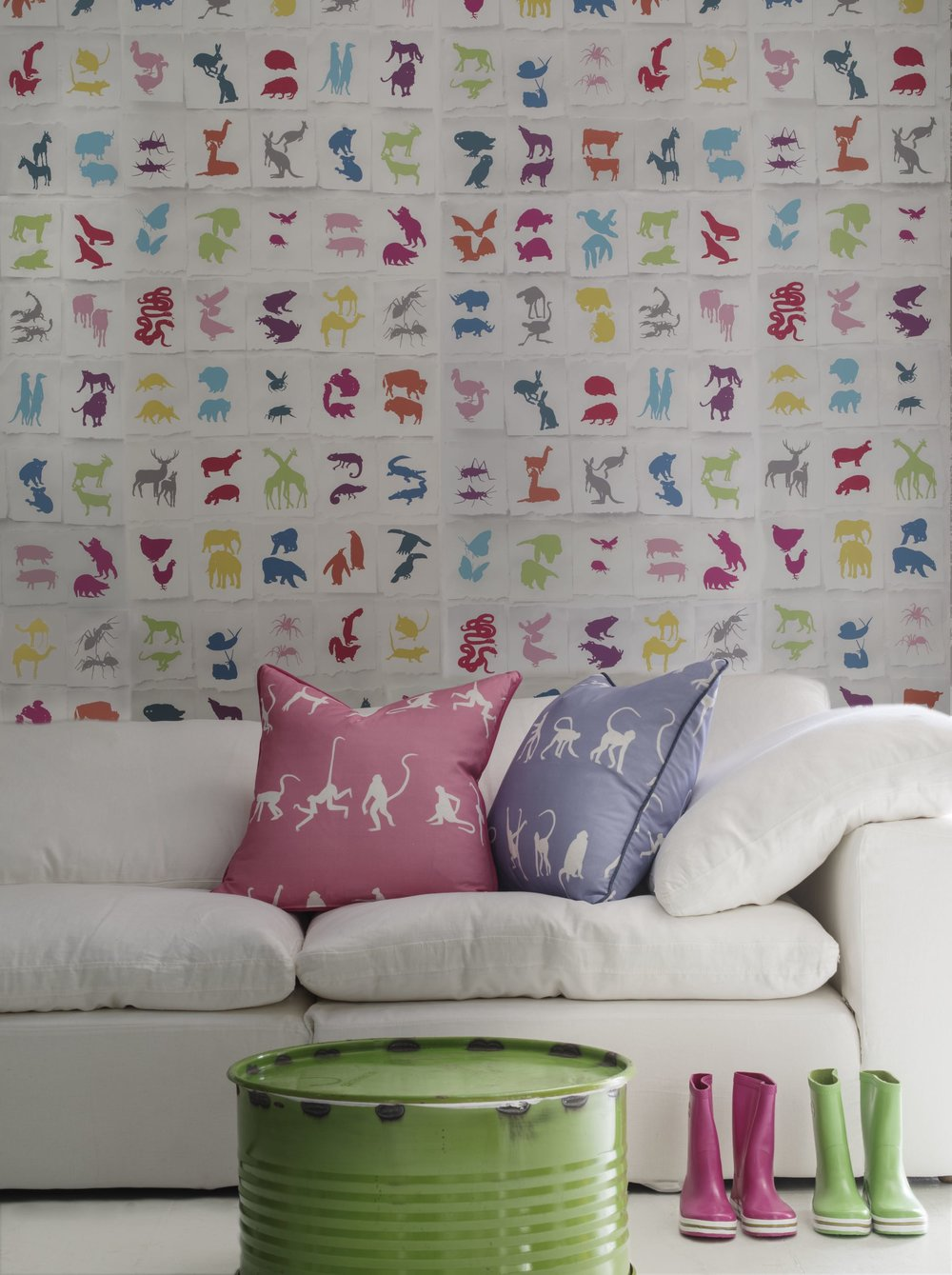 two_by_two_multi_wallpaper_truman_sectional_sofa_white_linen_monkey_puzzle_bluebell_&_monkey_puzzle_pink_cushions_lifestyle.jpg