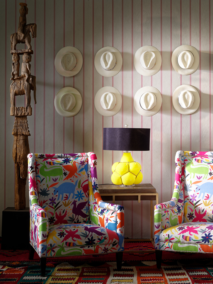 LR_Ric Rac Carnival Wallpaper, Venus Chairs in Tiki Tiki Carnival, Breuer Side Table & Ernest Table Lamp.jpg