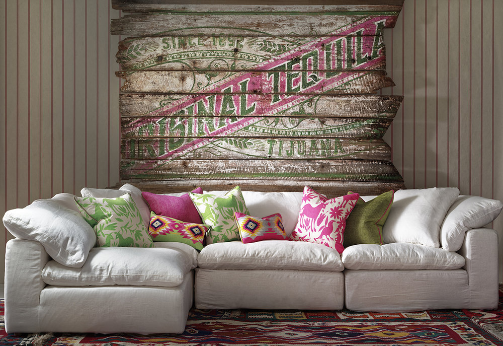 LR_Ric Rac Carnival wallpaper,Truman in white linen with scatter cushions in Maya Cactus, Maya Paraiso, Cruz Cactus, Cruz Para.jpg
