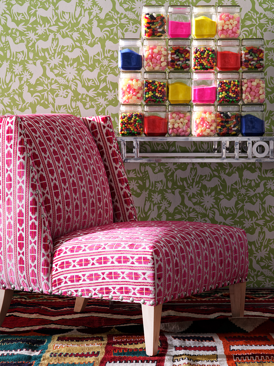 LR_Triton chair upholstered in Pelican Paraiso with Otomi Cactus wallpaper.jpg