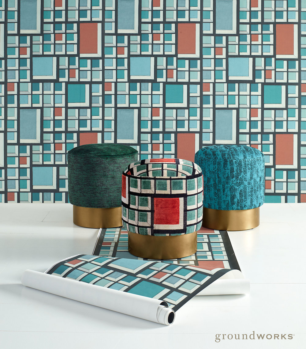 Groundworks_ Kelly Wearstler_ Theo Stools and Rarity Wallpaper.jpg