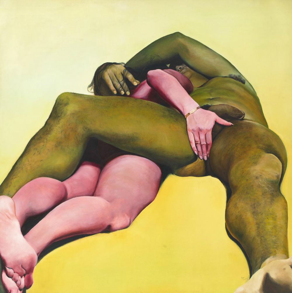 'Works in Progress' — a very small sampling of the female artists now in their 80s and 90s we should have known about decades ago. Great article by the NY Times! The above painting by Joan Semmel, 'Erotic Yellow', 1973.