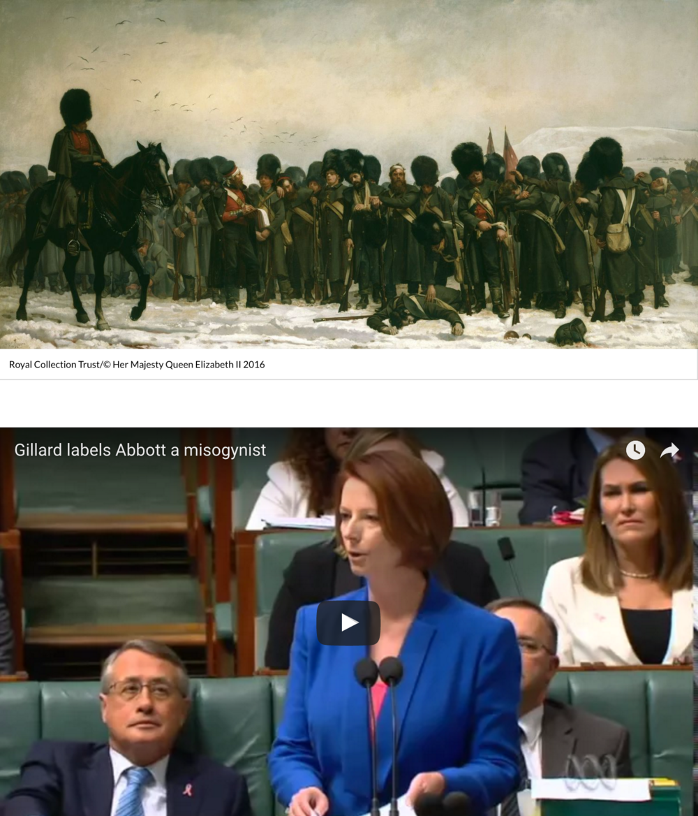 What do Julia Gillard and a 19th century painting depicting an army on the cusp of battle have in common? Listen to Malcolm Gladwell's new podcast Revisionist History to find out.