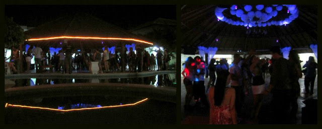 The 'piscina' dance floor at night