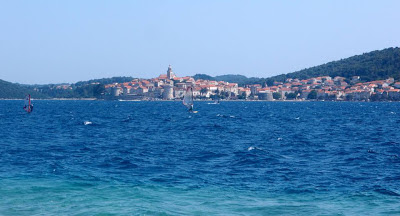 Windsurfers in Viganj - you can see Korčula town on the other side of the bay